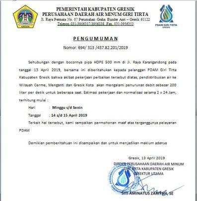 Penurunan debit 200 liter per detik, 14 April 2019