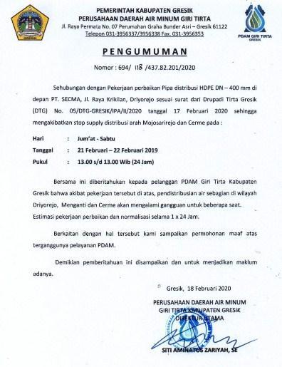 Website Resmi Pdam Giri Tirta Kabupaten Gresik